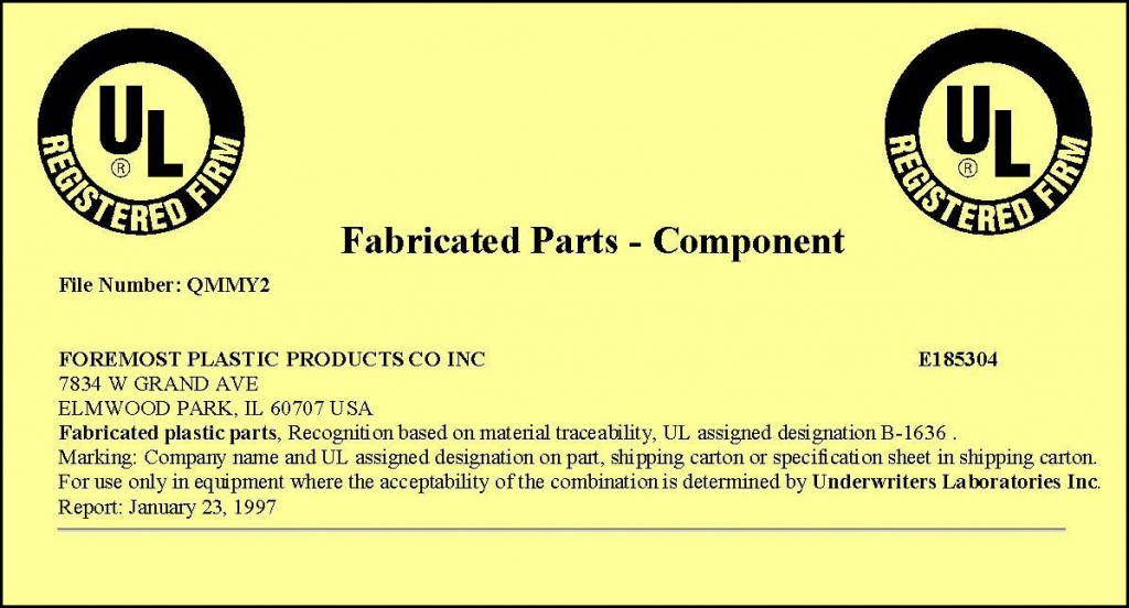 UL Registered Firm for Fabricated Plastic Parts